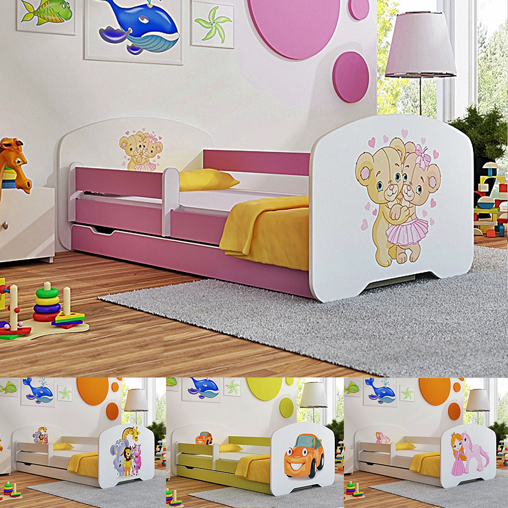TODDLER CHILDREN KIDS BED WITH Mattress Drawer Locker BOYS