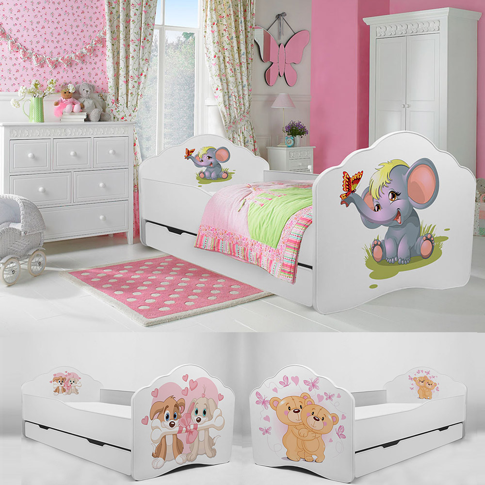 kinderbett babybett jugendbett 140x70 160x80 mit matratze lattenrost schublade ebay. Black Bedroom Furniture Sets. Home Design Ideas