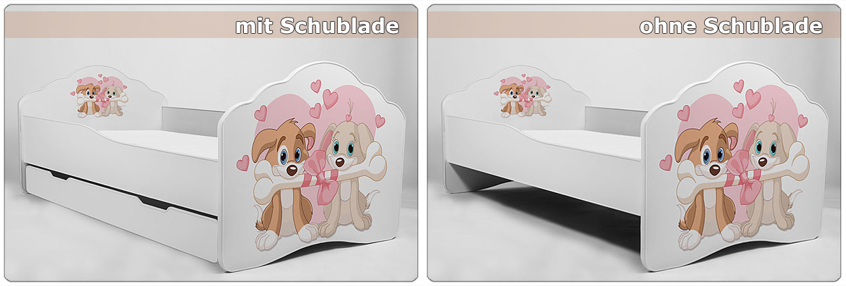 Modern Babybett Kinderbett Jugendbett 140x70 160x80 mit Schublade und Matratze