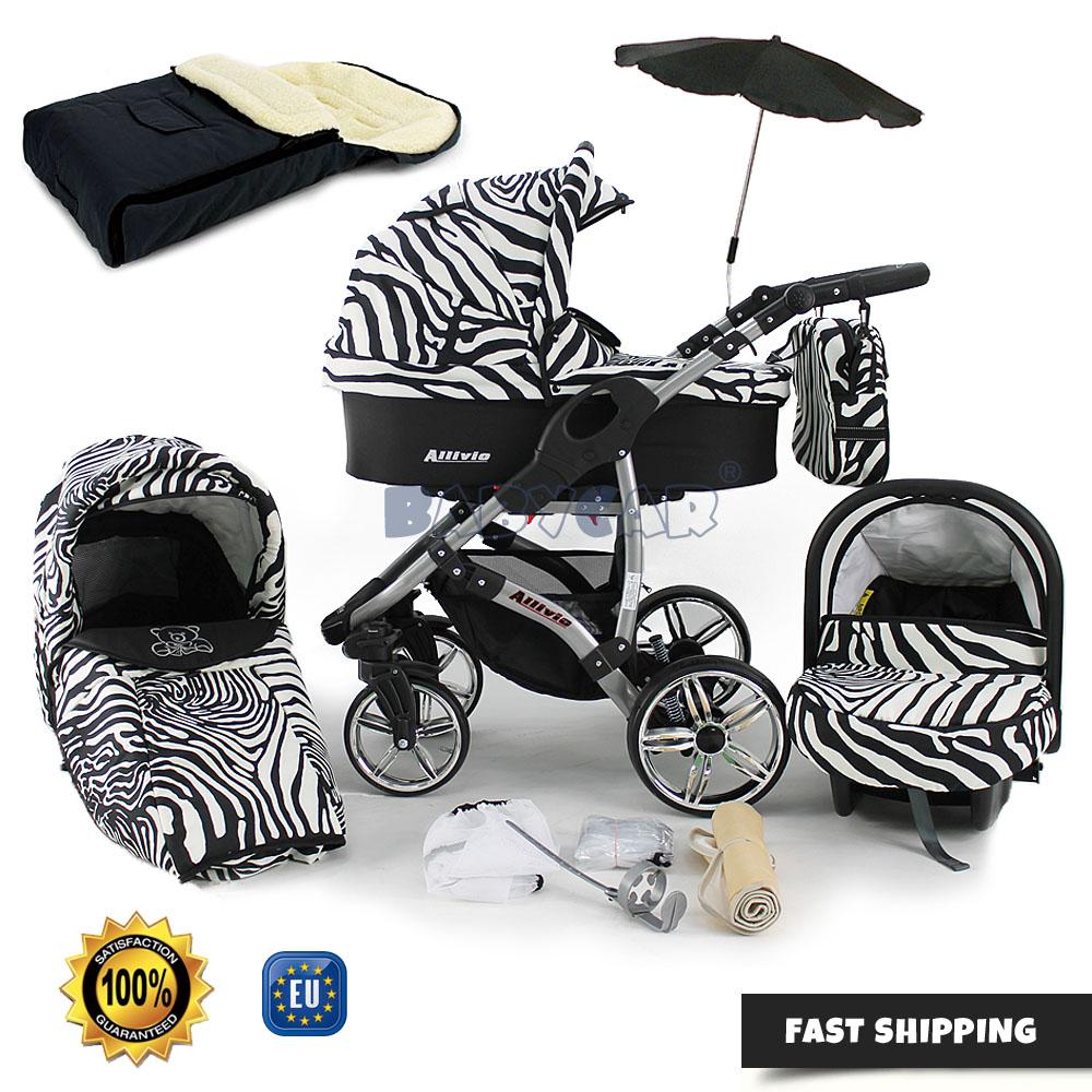 Baby Pram Stroller Pushchair Car seat Buggy Umbrella Footmuff swivel wheels
